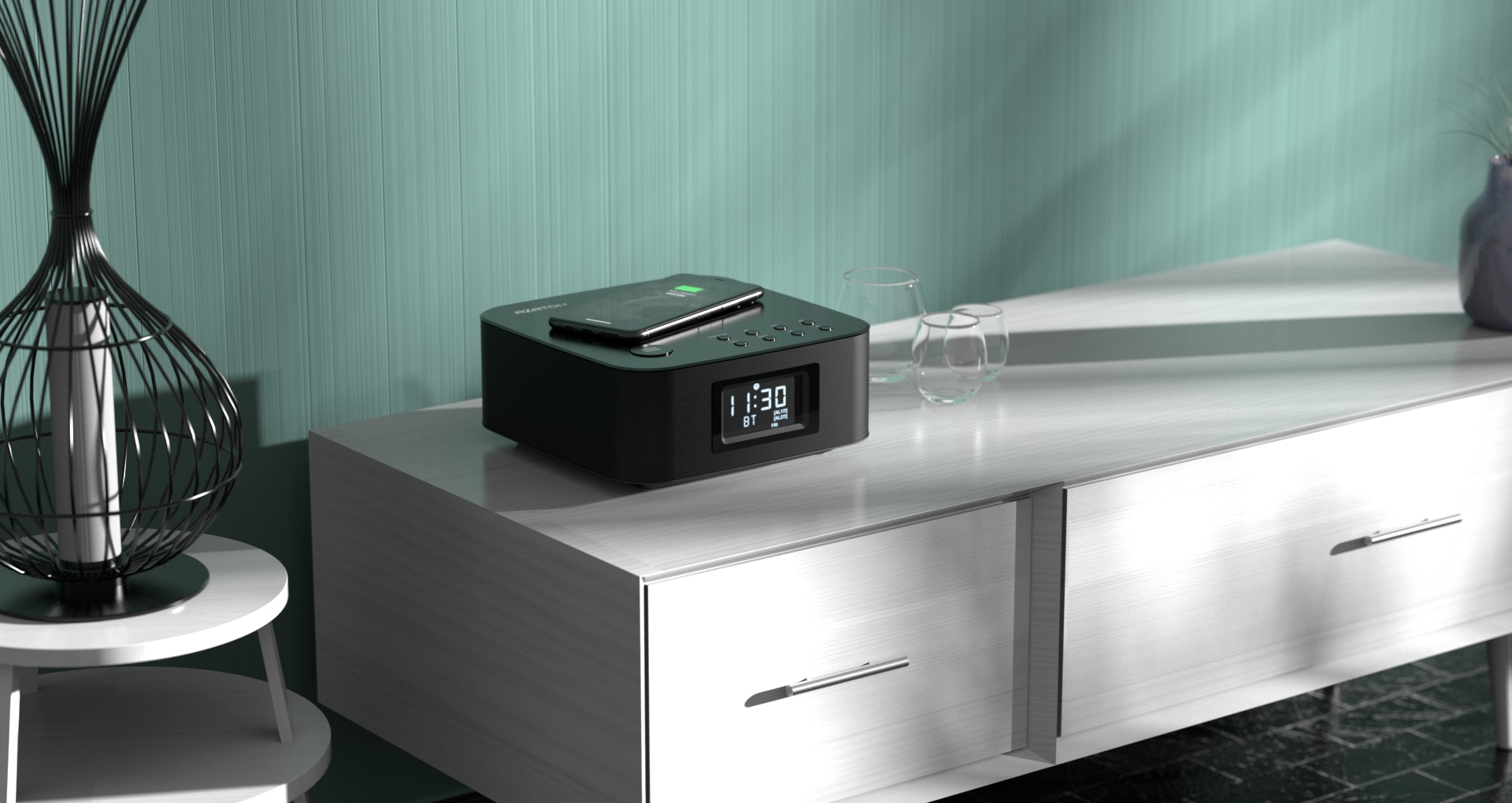 HomeHub Q Qi Charging Station With FM Radio & Alarm Clock