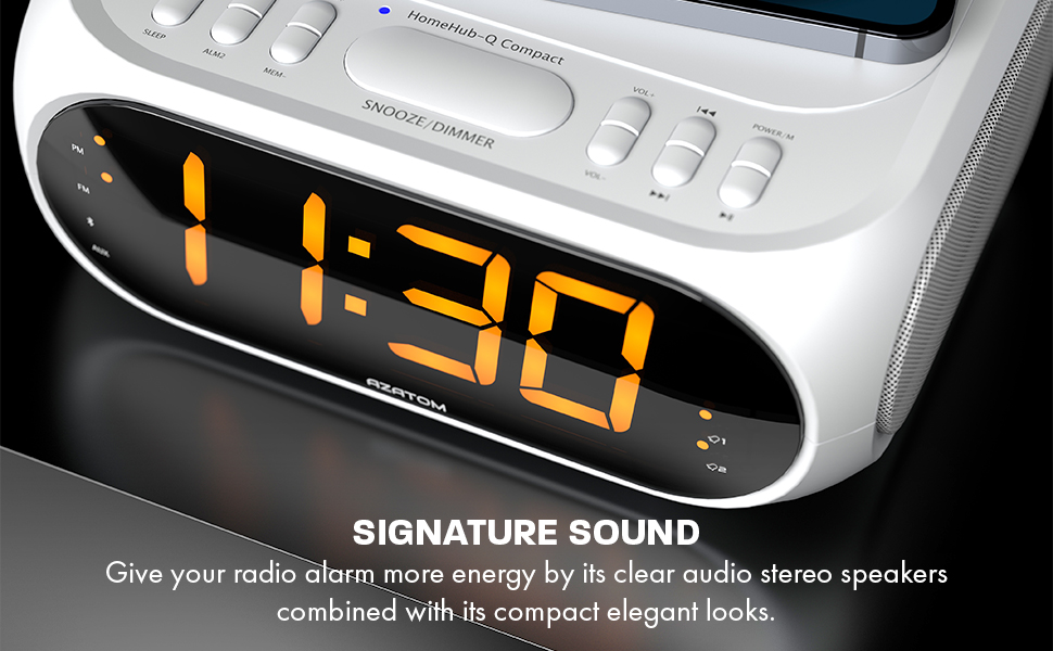 GIVE YOUR RADIO ALARM MORE ENERGY BY ITS CLEAR AUDIO STEREO SPEAKERS COMBINED WITH ITS COMPACT ELEGANT LOOKS.