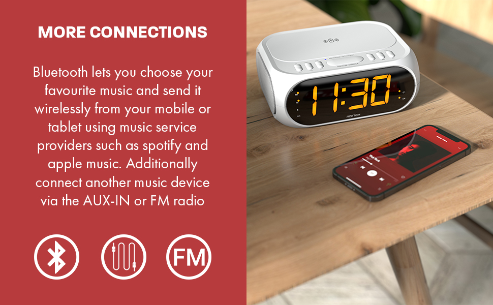 BLUETOOTH LETS YOU CHOOSE YOUR FAVOURITE MUSIC AND SEND IT WIRELESSLY FROM YOUR MOBILE OR TABLET USING MUSIC SERVICE PROVIDERS SUCH AS SPOTIFY AND APPLE MUSIC. ADDITIONALLY CONNECT ANOTHER MUSIC DEVICE VIA THE AUX-IN OR FM RADIO