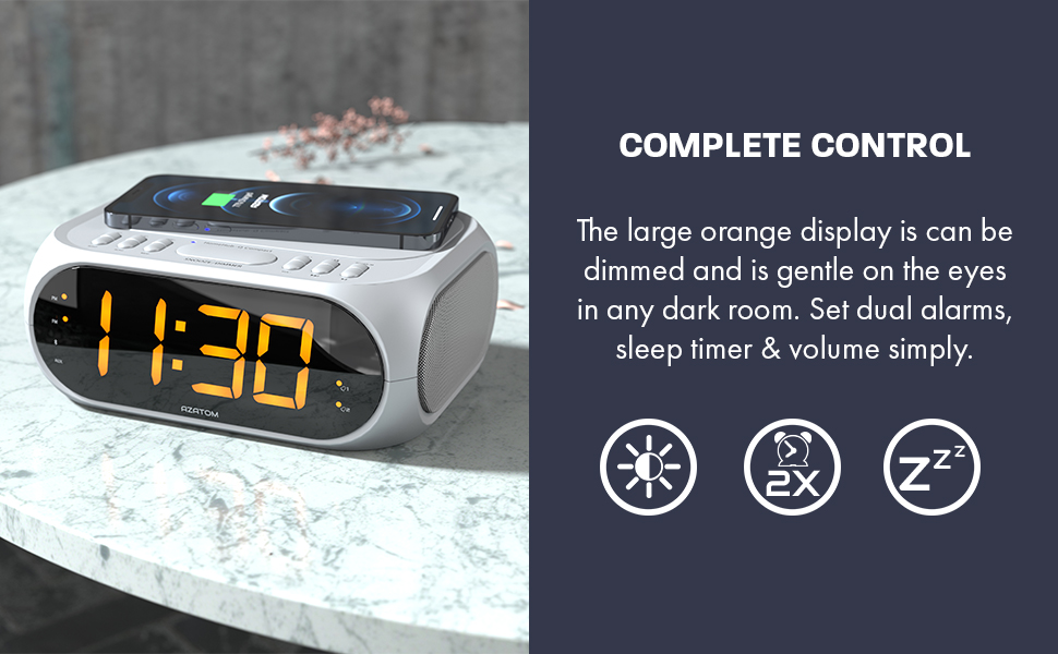 THE LARGE ORANGE DISPLAY IS DIMMERABLE AND SOFT ON THE EYES IN ANY DARK ROOM. SET DUAL ALARMS, SLEEP TIMER & VOLUME SIMPLY.